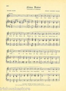 "Alma Mater Vtg UNIVERSITY OF ALABAMA song sheet  /""ALABAMA/"" c 38s"